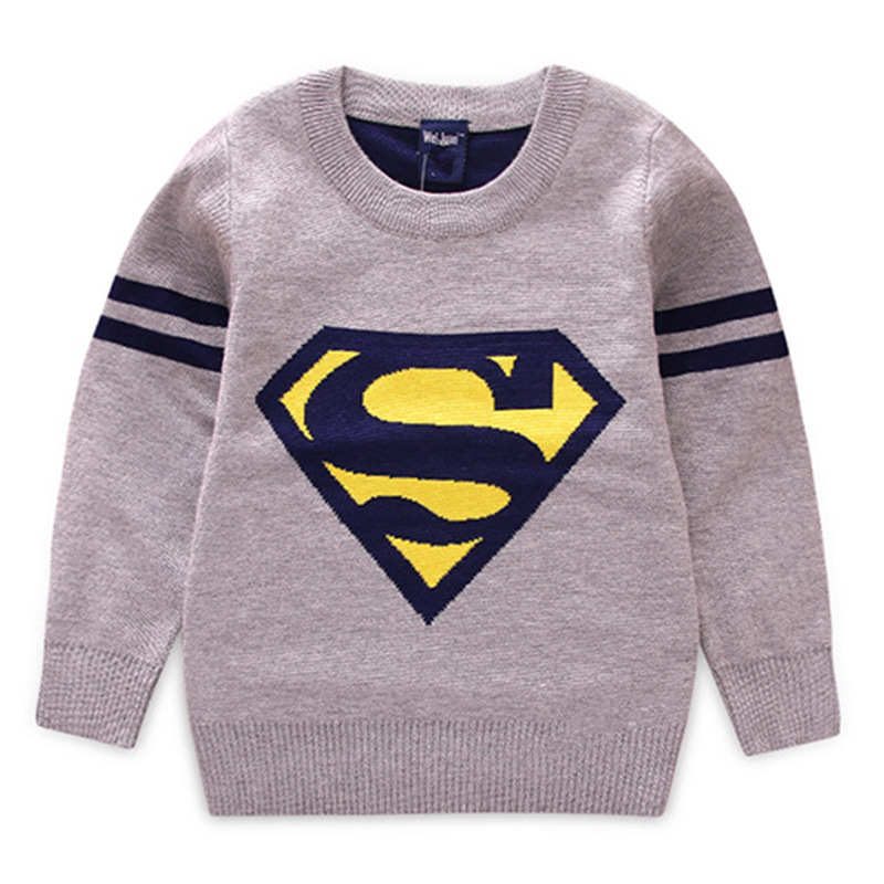 2017 Kids Fashion Sweater For Boys Super Man Print Knitting Sweater Children Winter Thicken Velvet Warm Clothes Tops 2-7T