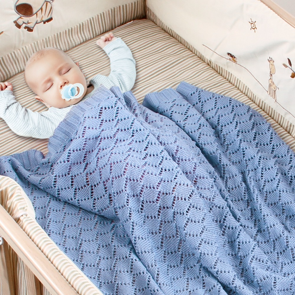 80X100cm Cotton Knitted Crochet Diamond Hollow Thin Wrap Summer Cool Baby Knitted Blanket Kids Back Seat Cover Stroller Cover