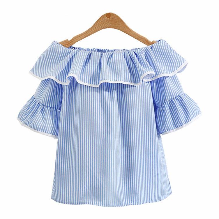 Рюшами Синяя рубашка в полоску для женщин; Большие размеры Топы корректирующие Sexy с плеча блузка женская Лето 2017 г. белый bloues Camisas Mujer e0275 ...