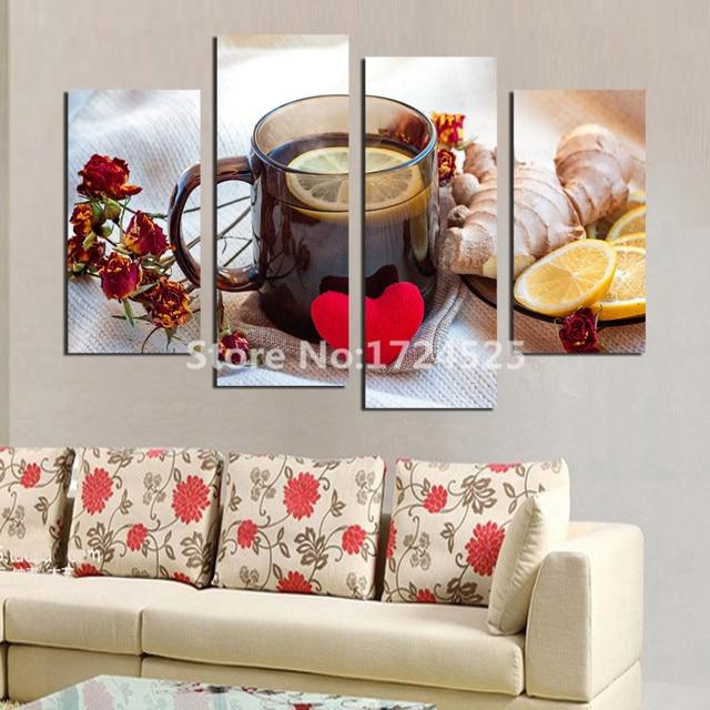 4 paneles lienzo limón té moderno pintura de frutas tetera cuadros ...