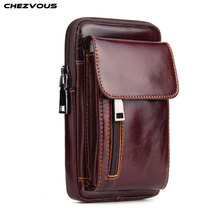 CHEZVOUS 6.3 inch Universal Mobile Phone Bags Waist Bag for iPhone 7 8 6 plus X Retro Leather Belt Bag Pouch for Samsung S8 S9
