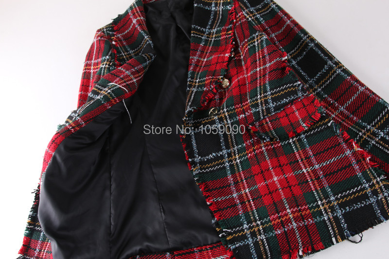 Breasted Avant Vérifier À Tweed Blazer Manches Col High Version Blogueur Femme Mode Street Frangée Double Rouge Longues Revers wRWPxHF