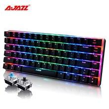 Ajazz AK33 82 ключи проводной механические Русский/Английский мультимедиа Эргономичный с подсветкой rgb Gaming Keyboard синий/черный переключатель