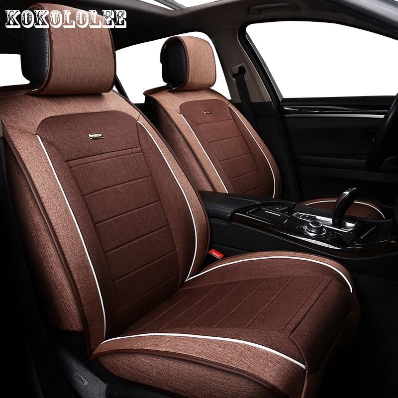 все цены на KOKOLOLEE Linen Fabric Universal Car Seat Cover Set Red Car Styling Fit Most auto Interior Accessories Sedans car seats protect онлайн