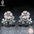 925 Sterling Silver Pink White Flower Stud Earrings with Push Back Clasp Earrings Compatible With Original VRC Jewelry S461