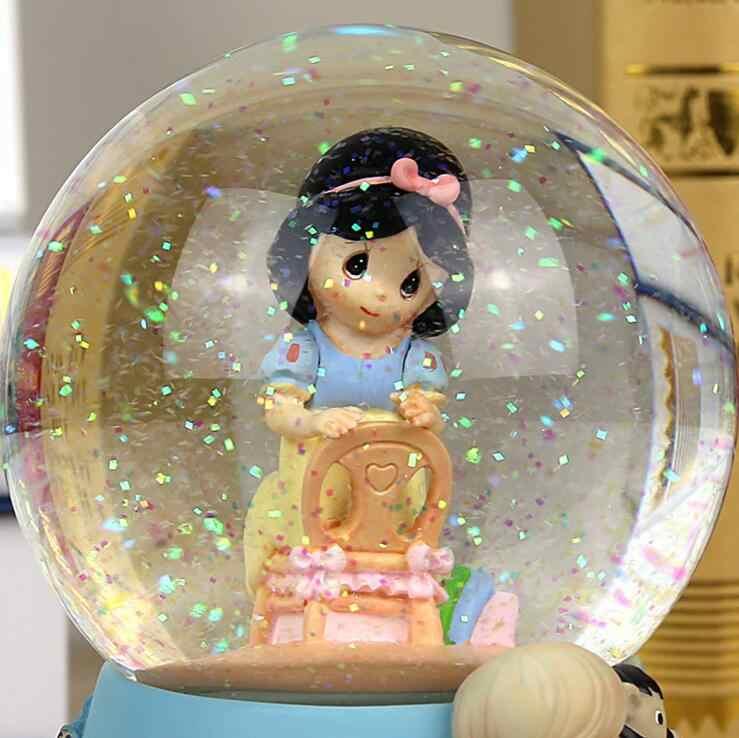 שרף קריסטל כדור פתית שלג מוסיקה תיבת בית תפאורה קישוט רומנטי מתנה לחתונה שלג לבן נסיכת בנות חג המולד מתנה