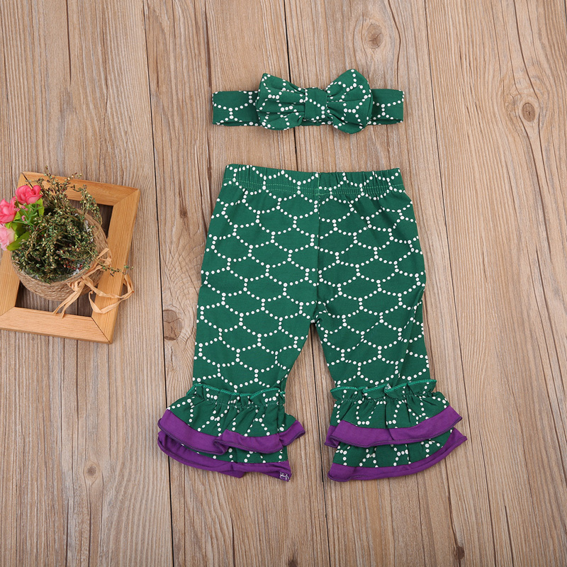 3pcs Kids Set Infant Baby Girl Clothes Letter Long Sleeve T-shirt Tops Mermaid Pants Outfits Clothes 0-24M