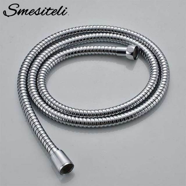 Smesiteli Hot Sale  Flexible Polished Chrome Brass Connector Stainless Steel Handheld Shower Head Hose Replacement 1.5 Meters