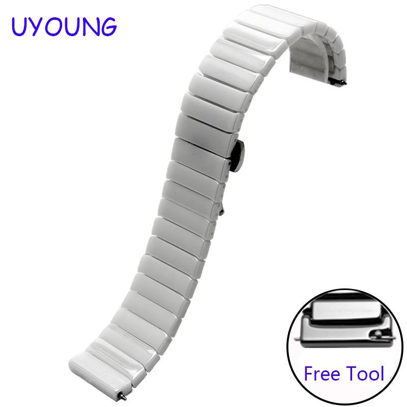 Quality ceramic watch band 20mm black white bracelet for Samsung gear S2 classic quick release