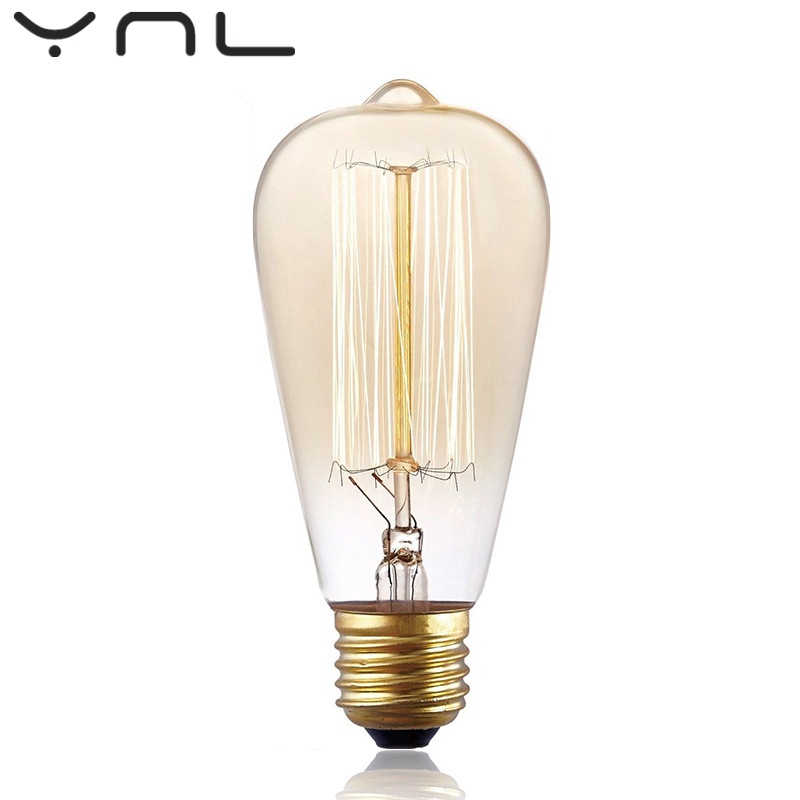 6Pcs/lot Edison Bulb E27 220V 40W ST64 Incandescent filament spirai christmas star bulb lighting Retro Edison Light Bulb