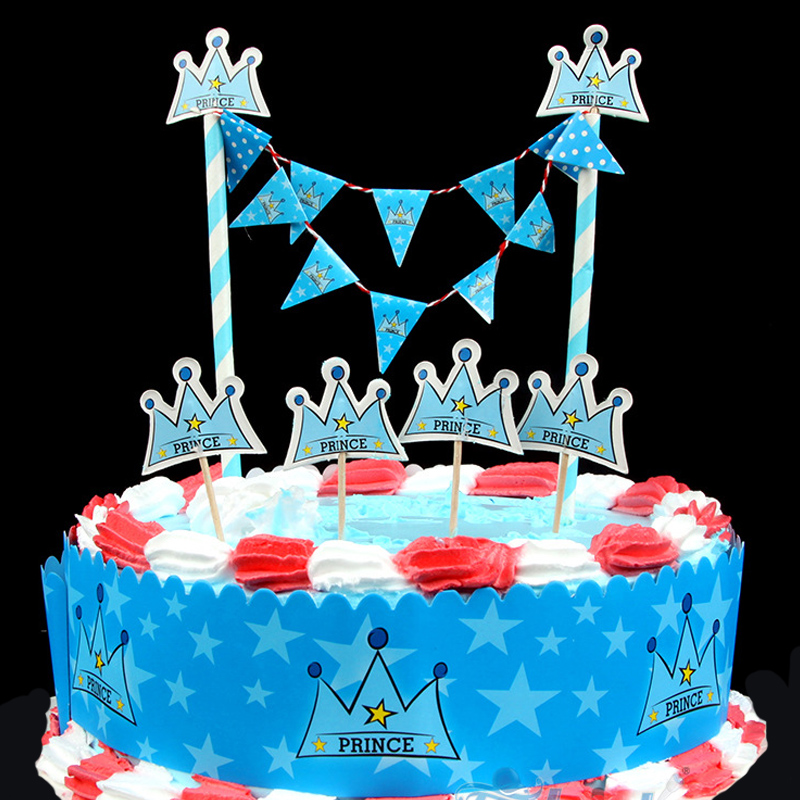 prince blue crown cartoon cake topper 6pcslot prince cupcake topper
