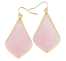 FYJS Light Yellow Gold Color Water Drop Natural Rose Pink Quartz Earrings For Elegant Women Jewelry