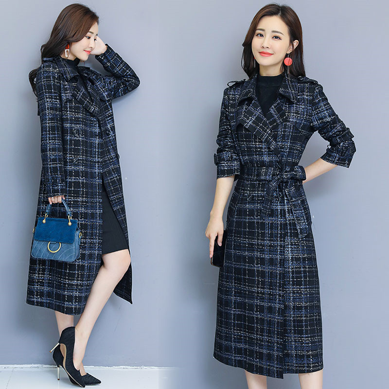 Spring Autumn Women's Windbreaker Coat Female Long section Korean 2019 New Fashion Plaid   Trench   Coat X350