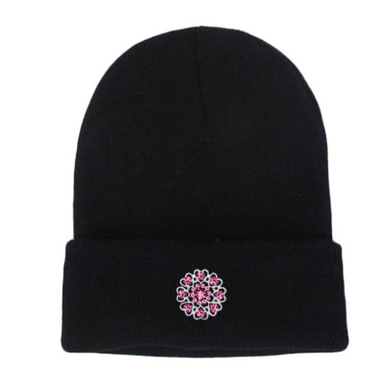 Fashion Women's Winter Hats Knitted Skullies Beanies Caps Diamond Decoration Headgear Females Balaclava gorros mujer invierno skullies