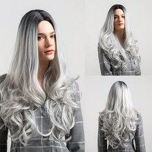Peluca sintética unicornio rubia 26 pulgadas largo ondulado Pelo Rizado  Ombre Color gris peluca para mujer negra blanca peluca C.. b5e3afc84bdd