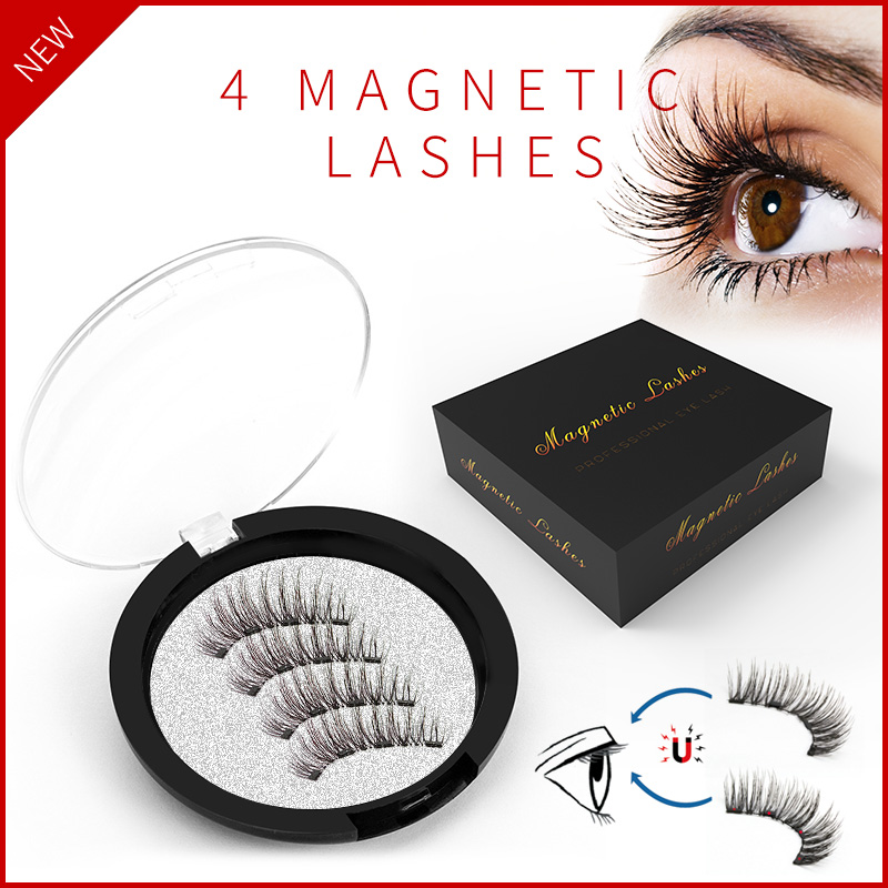 <font><b>Shozy</b></font> 3D handmade 4 magnets <font><b>eyelashes</b></font> <font><b>magnetic</b></font> lashes natural long false <font><b>eyelash</b></font> magnet lash with gift box-52HB-4 image
