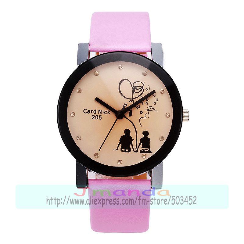 100pcslot 8234 Sweet Love Leather Watch Wrap Quartz Casual Watch Exclusive Design Couple Watch hot selling tea color dial clock