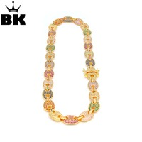 13mm Iced Out CZ Puffed Mariner Link Choker Chain Necklace Gold Silver Multicolor Cubic Zirconia 16/18/20/22/24/26/28/30inch