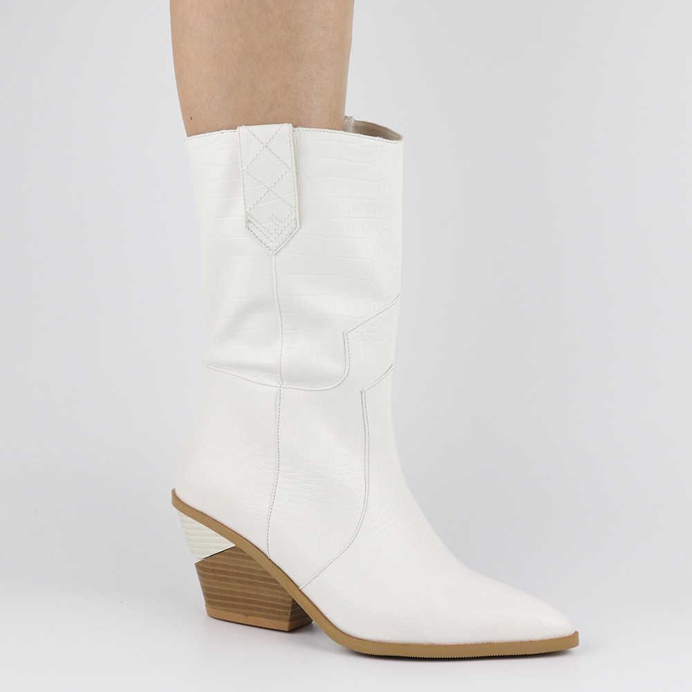 En kaliteli Sonbahar kış Artı Boyutu 46 Retro tıknaz Topuklu Orta Buzağı çizmeler kadın ayakkabıları Üzerinde Kayma Batı çizmeler Ayakkabı Kadın