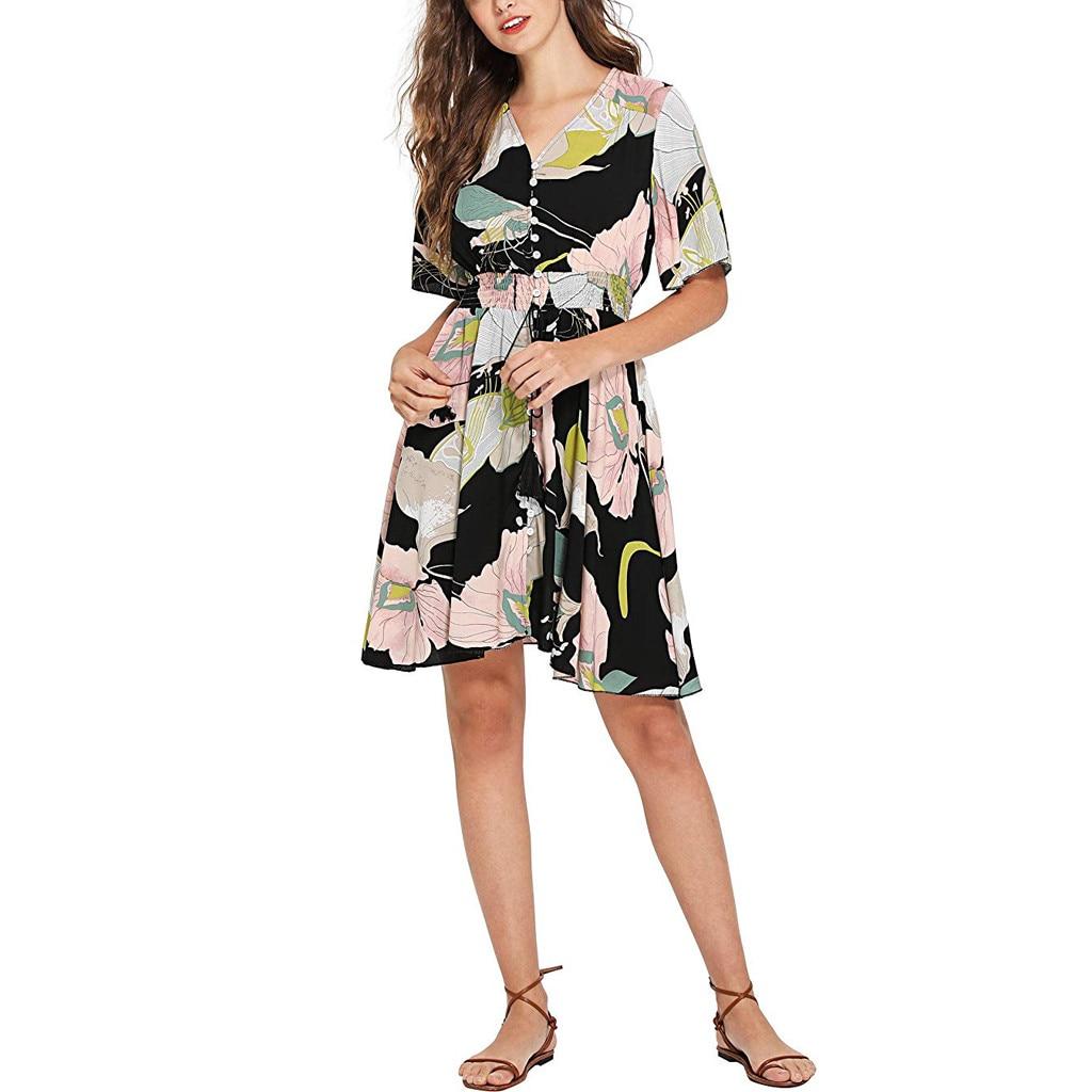 553064e8c4b8 Feitong verano Casual vestido de mujer nueva moda estampado cintura  elástica Vestidos botón ...