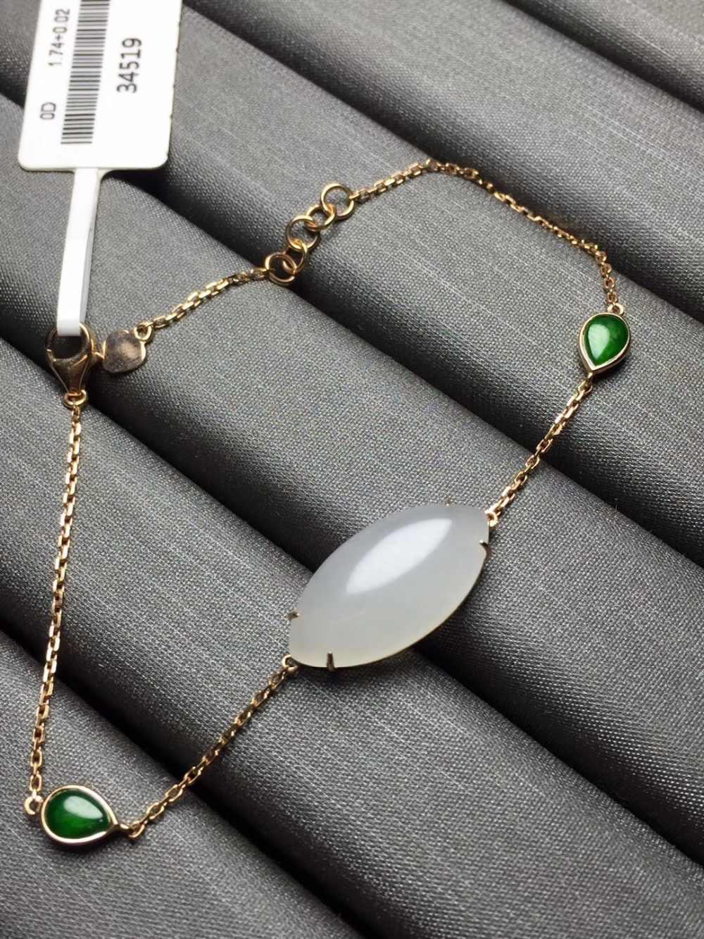 Belas Jóias Real 18 K Rose Ouro G18K AU750 100% Natural Hetian Jade Pedras Preciosas Jóias Amor Pulseiras para as mulheres Bem pulseira