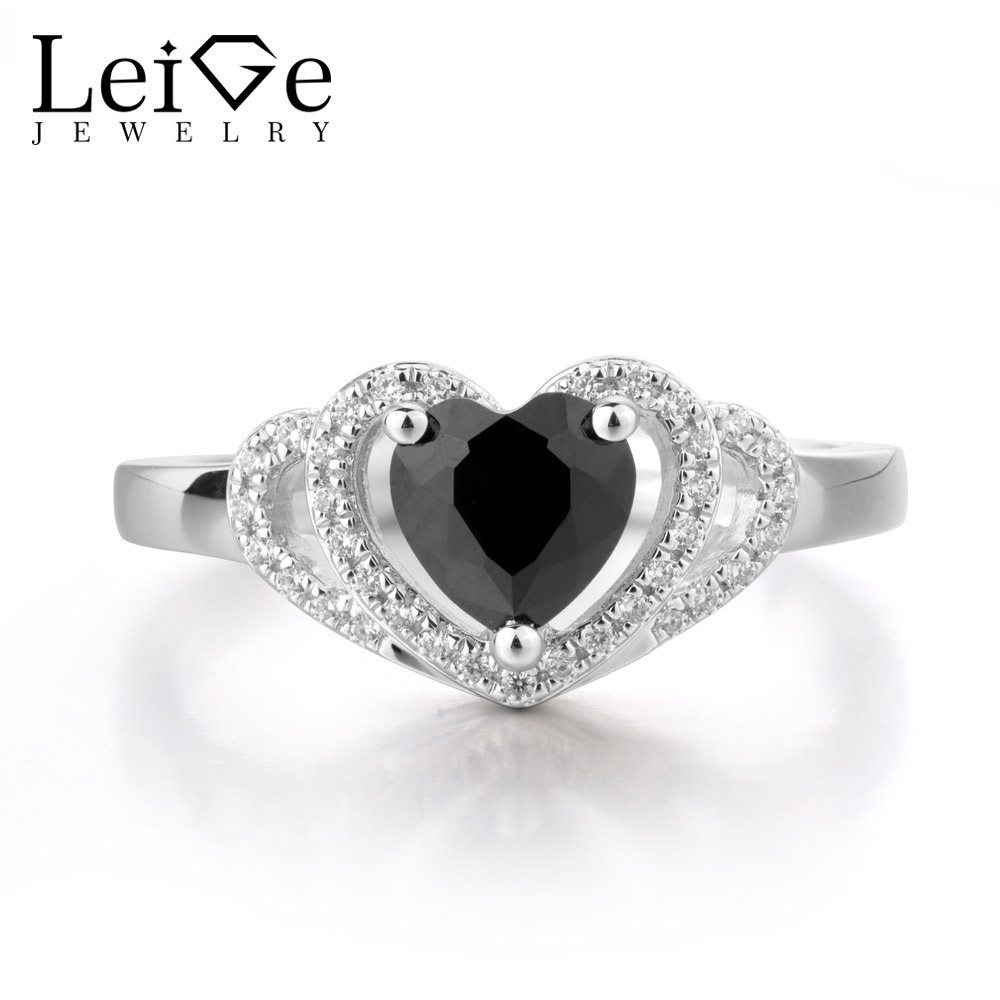 LeiGe Jewelry Natural Black Sipnel Ring Wedding Bands Promise Rings Heart Shape Vintage Style Gift For Woman 925 Sterling SilverLeiGe Jewelry Natural Black Sipnel Ring Wedding Bands Promise Rings Heart Shape Vintage Style Gift For Woman 925 Sterling Silver