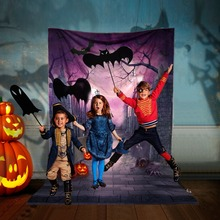 OurWarm Big Moon Spooky Dark Night Scene Halloween Background Pumpkin Lamp Witch House Photo Backdrops 150*220cm spooky night