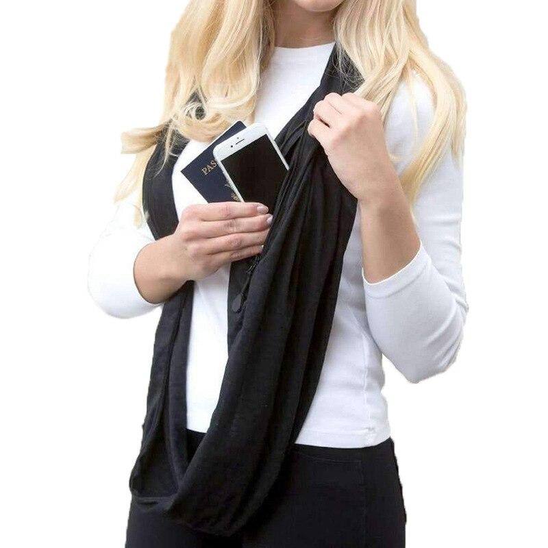 Grandwish Mode Frauen Winter Unendlichkeit Schal mit Tasche Cabrio Schals mit Zipper Tasche, CI006