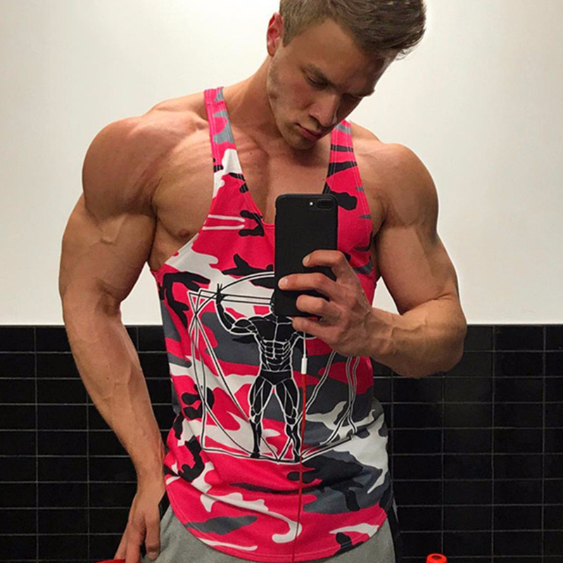 Men Camouflage Printing Training Athletic Marathon Muscle Bodybuilding Gym Sports Vest Breathable   Tank     Tops