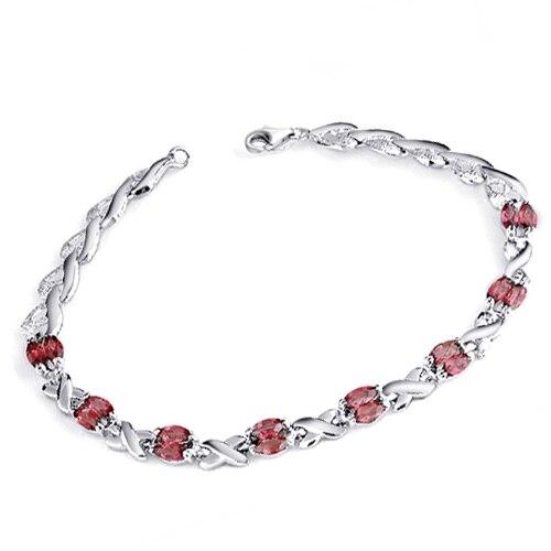 Bracelet grenat naturel 925 en argent Sterling femme Fine élégante gemme rouge bijoux fille pierre de naissance cadeau saint-valentin sb0005g