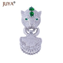Hot Trendy Jewelry Bijoux Zircon Leopard Charms Pendant For Bracelets & Necklaces Big Copper Micro Pave Clasp Jewelry Findings(China)