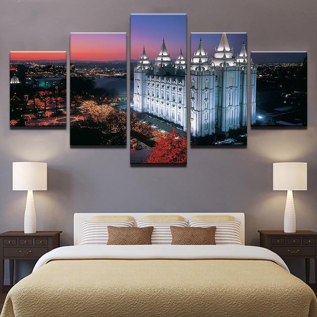 Canvas Hd Prints Poster Home Decor No Frame 5 Pieces Salt Lake City S Temple Square Paintings