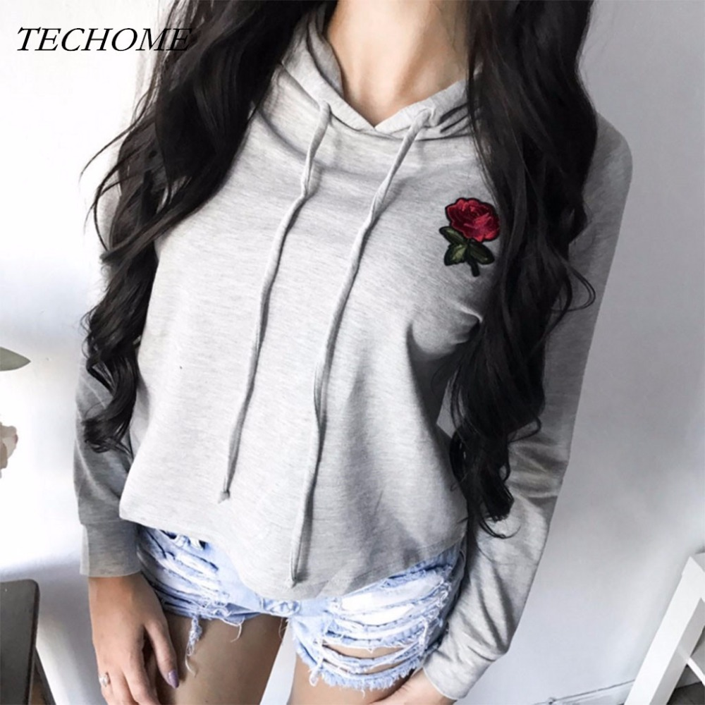 2018 New Spring Casual Rose Patch Hoodies Shirt Women Long Sleeve Solid Pullover Fashion Floral Hooded Sweatshirt Short Home Top