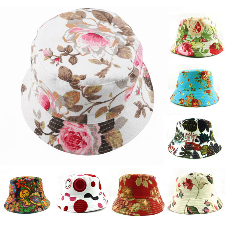 10pcs lot Free Shipping Fashion Women Bucket Hat Boonie Floral Hunting  Fishing Outdoor Summer Sun Cap Sports Fisherman Hats V041-in Bucket Hats  from Apparel ... f664ae093552