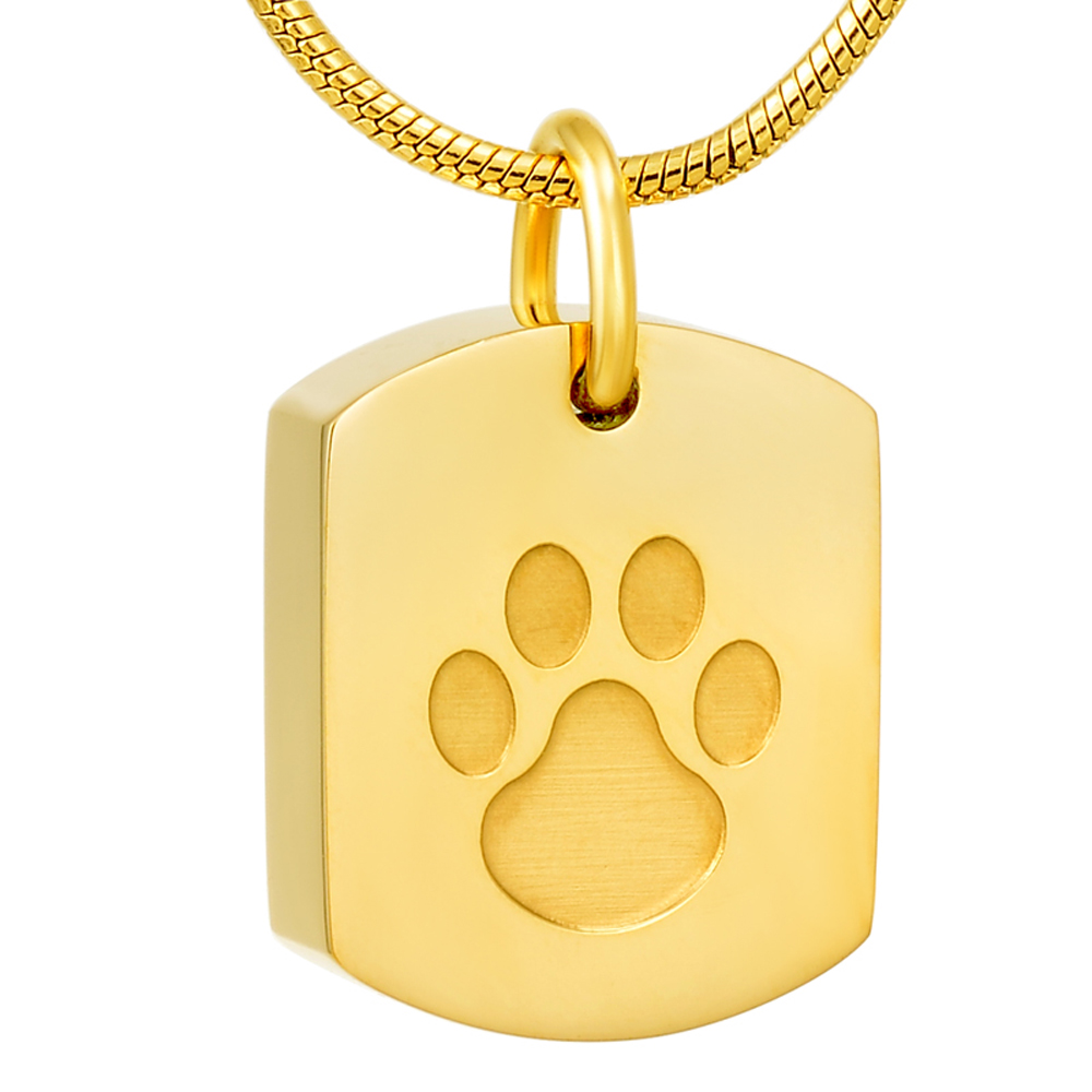 MJD8003 Rose Gold Plating Paw On Dog Tag Ash Pendant Cremation Pendant Urn Necklace for Ashes