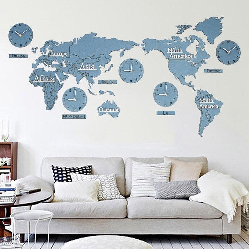 Creative World Map Wall Clock Wood Acrylic Quartz Needle Mute Modern Art Clock Office Wall Decoration for Wedding Gifts Crafts