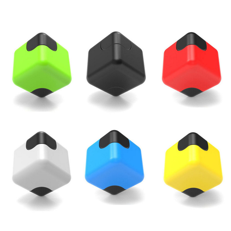 Colorful Cube Dice Gyro Square Finger Gyro Fidget Spinner Stress Cube Plastic Hand Spinners EDC Toy