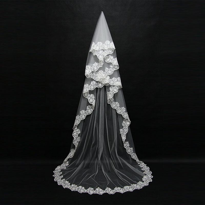 Mariage 3 м один Слои Кружево край Белый Кот catherdal свадебная фата Длинная фата Дешевые Свадебные аксессуары вэу-де-noiva