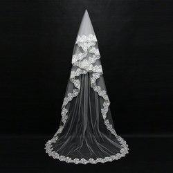 Свадебная вуаль 3 м с одним слоем и кружевной каймой белого цвета и цвета слоновой кости, Длинная свадебная вуаль, дешевые свадебные аксессу...
