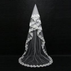Mariage 3 M una capa borde de encaje blanco marfil Catherdal velo de novia largo velo de novia barato accesorios de boda Veu de noiva