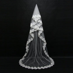 Mariage 3 m Uma Camada Borda Do Laço Branco Marfim Catherdal Véu Do Casamento Longo Véu de Noiva Acessórios Véu de Casamento Barato noiva