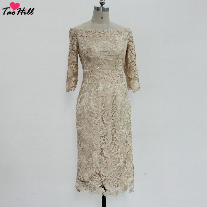 TaoHill Elegant Mother Dresses Tea Length Sheath Three Quarter Sleeves Bateau Neck Champagne Lace Gowns Wedding Mother Dress