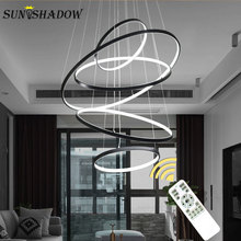 Circle Modern LED Pendant Light For Dining room Living room Kitchen Light Fixture LED Pendant Lamp Hanging Lamp Black White Body modern crystal pendant light wave led crystal pendant lamp long hanging lamp fixture for dining room kitchen island