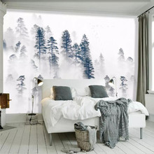 Creative wallpaper Nordic minimalist atmosphere background fog forest professional custom mural photo