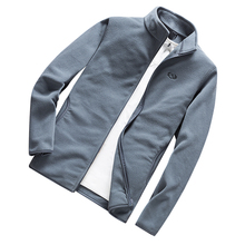 Jacket autumn new men's fashion fleece knit coat men's solid color lapel Slim zipper coat men's warm and windproof casual jacket недорого