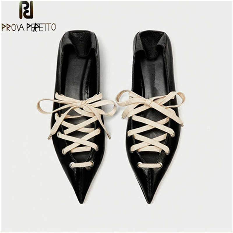 Prova Perfetto Spring Real Leather Shoe Lace Pointed Toe Flat Shoes Zapatos Mujer Tacon Escarpins Large Size Flat Women Loafers casual ballet leopard pattern non leather flat shoes women fashion boat shoes zapatos mujer tacon sapato flats large size 4 16