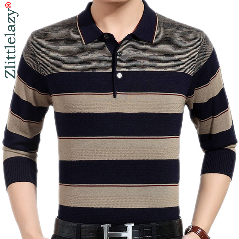 2019 Brand New Casual Social Striped Pullover Men Sweater Shirt Jersey Clothing Pull Sweaters Mens Fashion Male Knitwear 318
