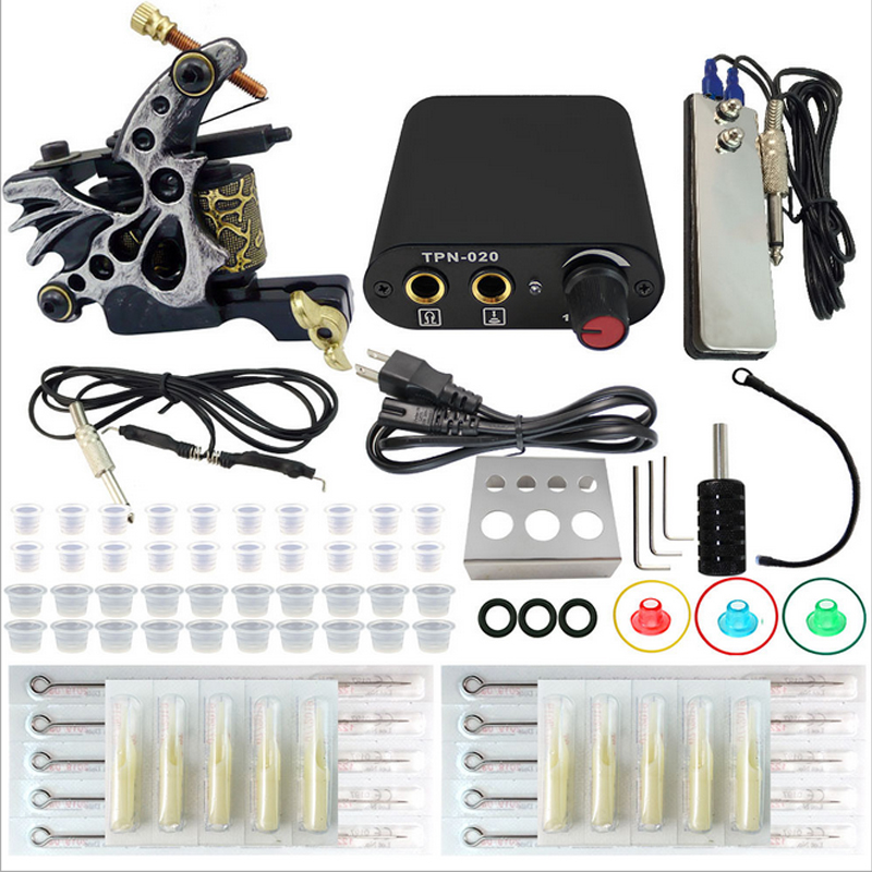 Completed Tattoo Kit Equipment Tattoo Machine Gun 10 Colors Power