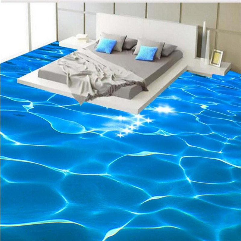 Custom photo floor mural wallpaper 3d blue sea water for Wallpaper pvc 3d