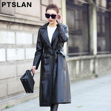 Ptslan 2017 Women's Real leather Coats genuine lambskin Casual jackets Long Basic Good Quality